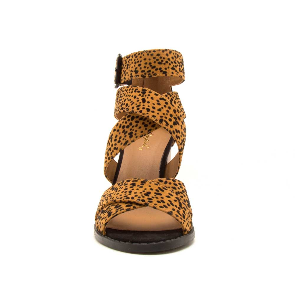 Brammer-71 Camel Black Leopard Strappy Sandals