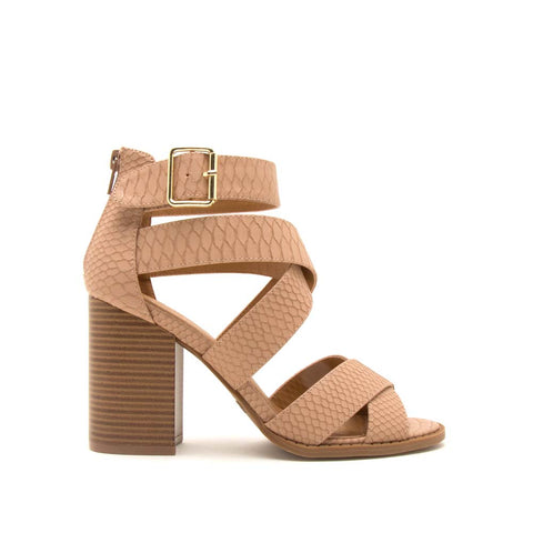 Brammer-71 Dark Blush Snake Strappy Sandals