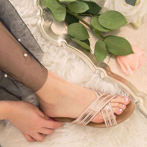 Britt-09A Rose Gold Metallic X-Band Sandal