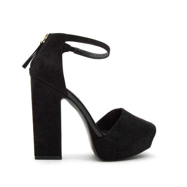 Bronco-03X Black Single Band Ankle Strap Sandals