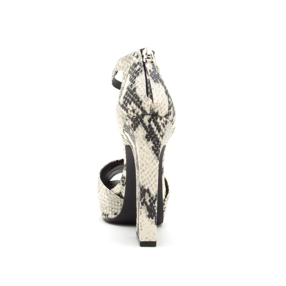 Bronco-03X Stone Black Snake Single Band Ankle Strap Sandals