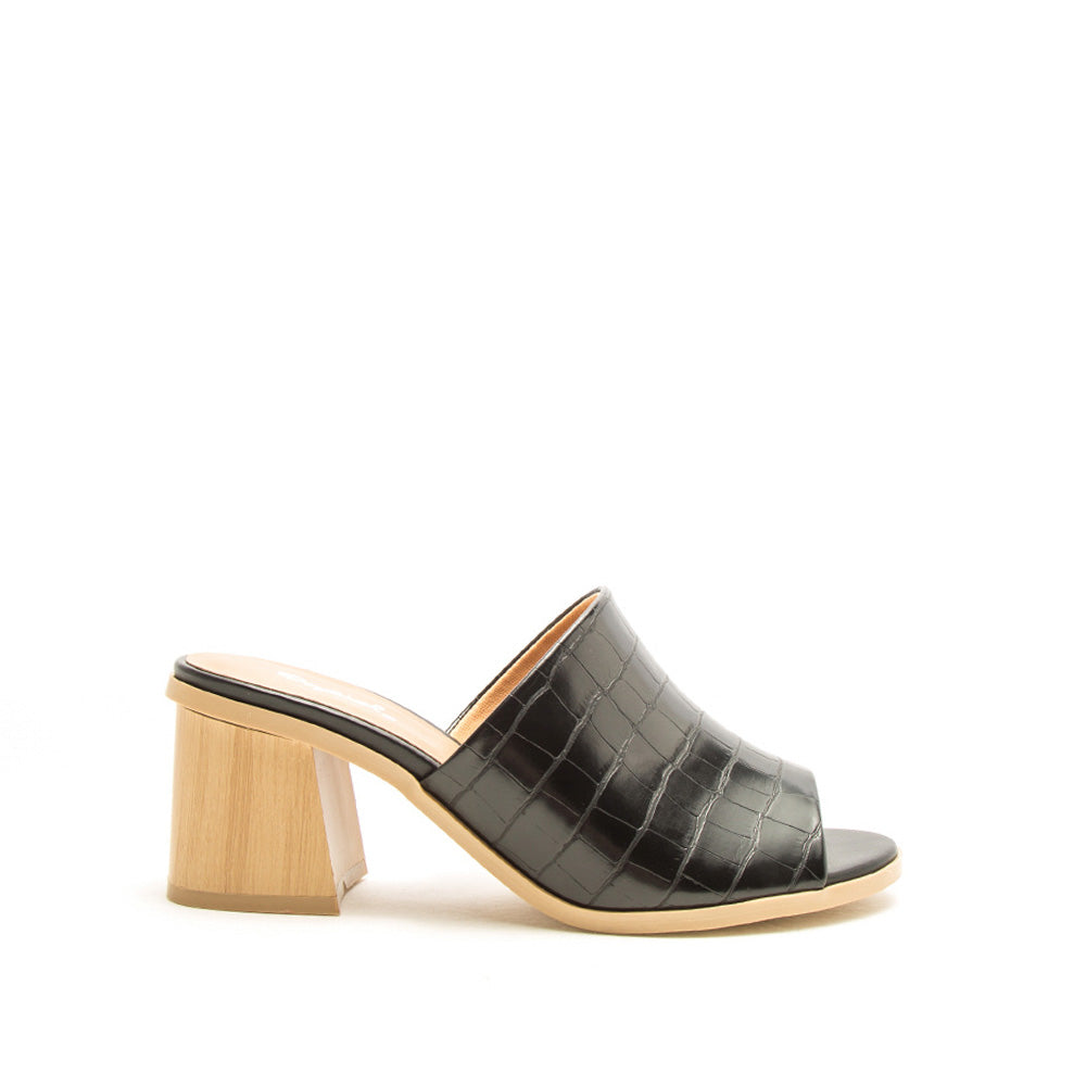 Bucky-07A Black Croco Single Band Mules