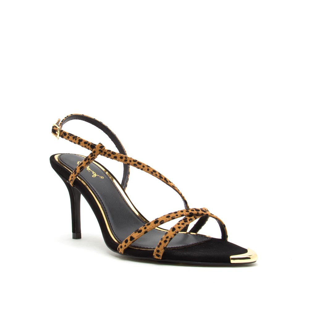 Burnet-08 Camel Black Leopard Strappy Sandals
