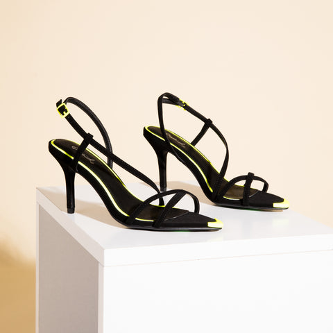 Burnet-08 Black Strappy Sandals