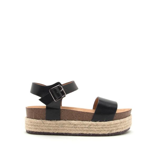 Cabo-01 Black One Band Wedge Sandals
