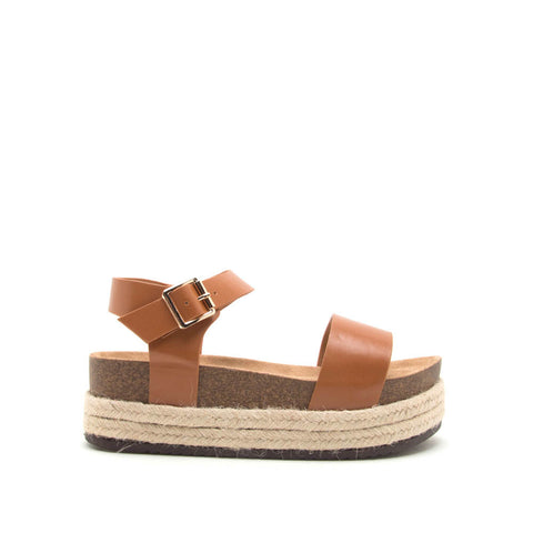 Cabo-01 Cognac One Band Wedge Sandals