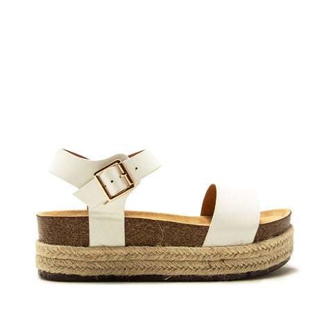 Cabo-01 White One Band Wedge Sandals