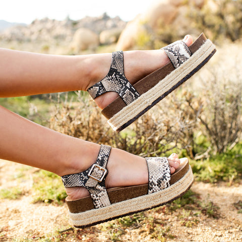 Cabo-01 Beige Brown Snake One Band Wedge Sandals