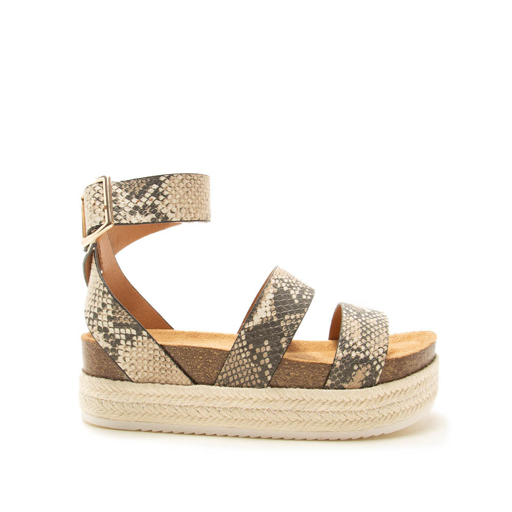 Cabo-05 Beige Brown Snake Strappy Wedge Sandals