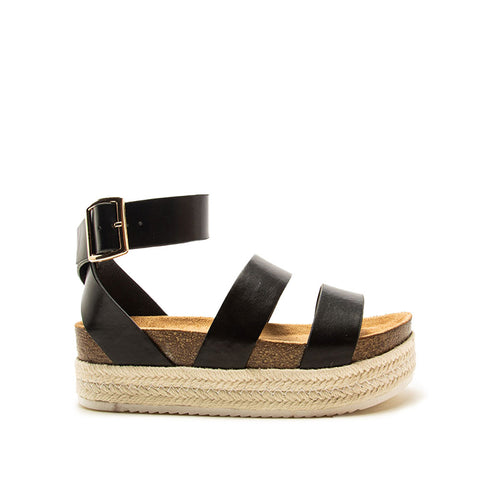 Cabo-05 Black Strappy Wedge Sandals