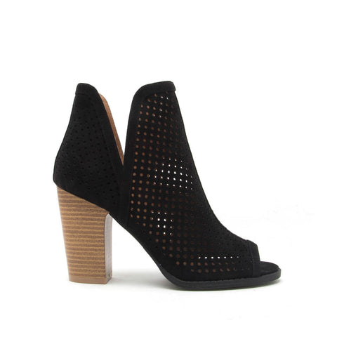 Cadence-01 Black Perforated Peep Toe Bootie