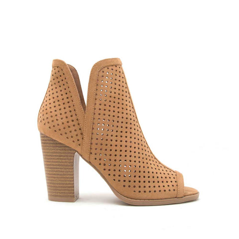 Cadence-01 Camel Perforated Peep Toe Bootie