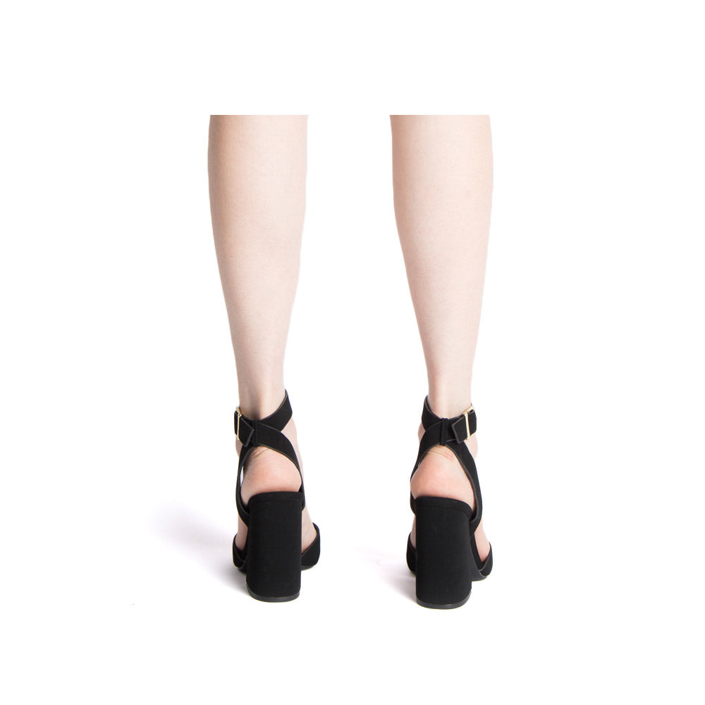 Cage-12 Black X Band Ankle Strap Sandals