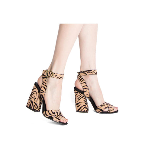 Cage-12 Tan Black Tiger X Band Ankle Strap Sandals