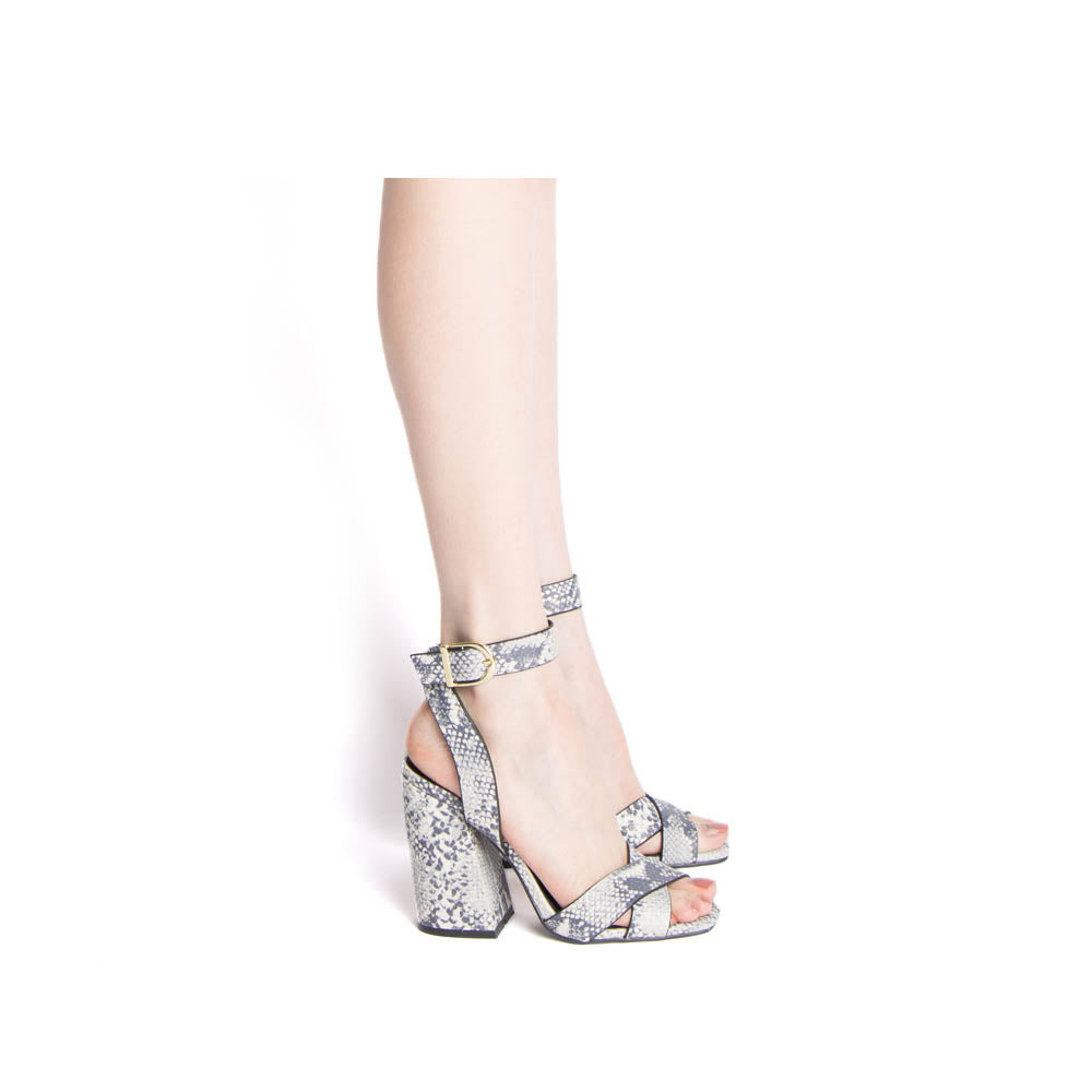 Cage-12 White Grey Snake X Band Ankle Strap Sandals
