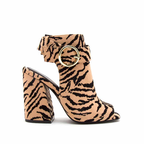 Cage-21 Tan Black Tiger Mule Slingback Sandals