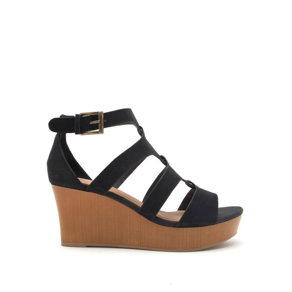 Cake-07 Black Strappy Wedge Sandal