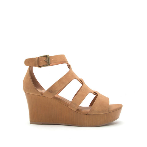 Cake-07 Tan Strappy Wedge Sandal