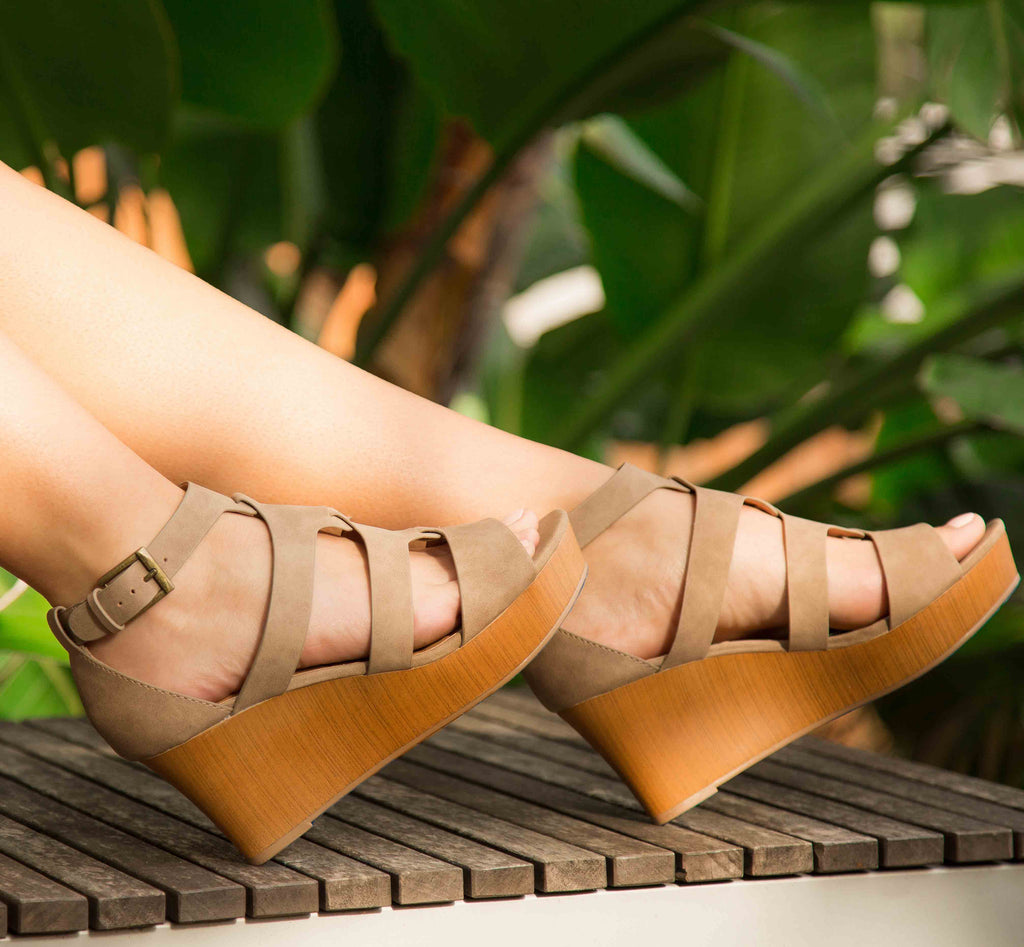 Cake-07 Taupe Strappy Wedge Sandal