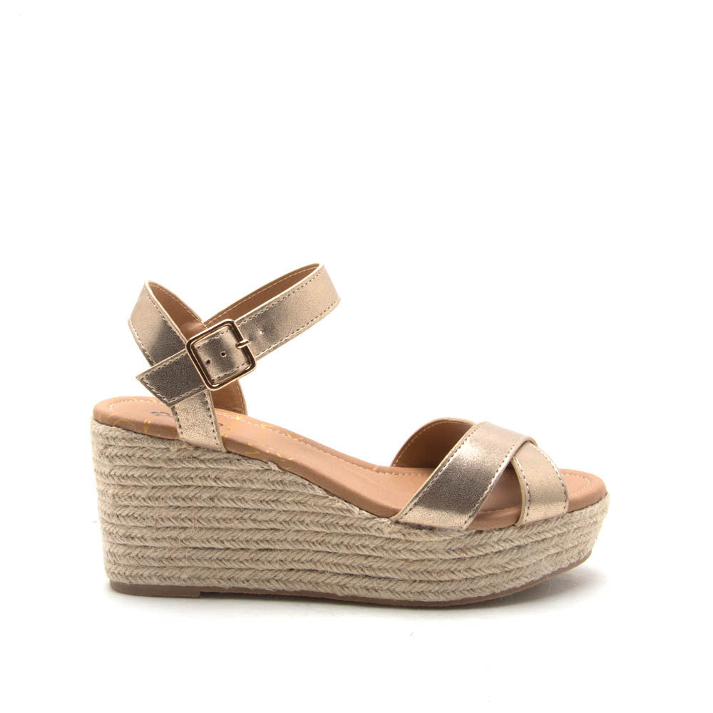 CALEB-01 Gold Metallic X Band Platform Sandal