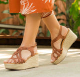 Caleb-09 Cinnamon Strappy Braided Wedge Sandal