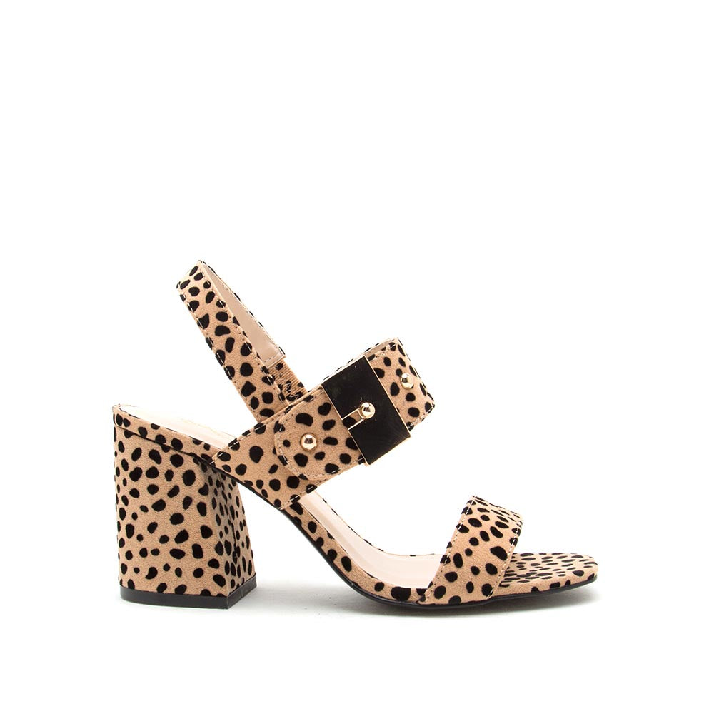 Cannoli-07 Tan Black Leopard Double Band Slingback Sandals