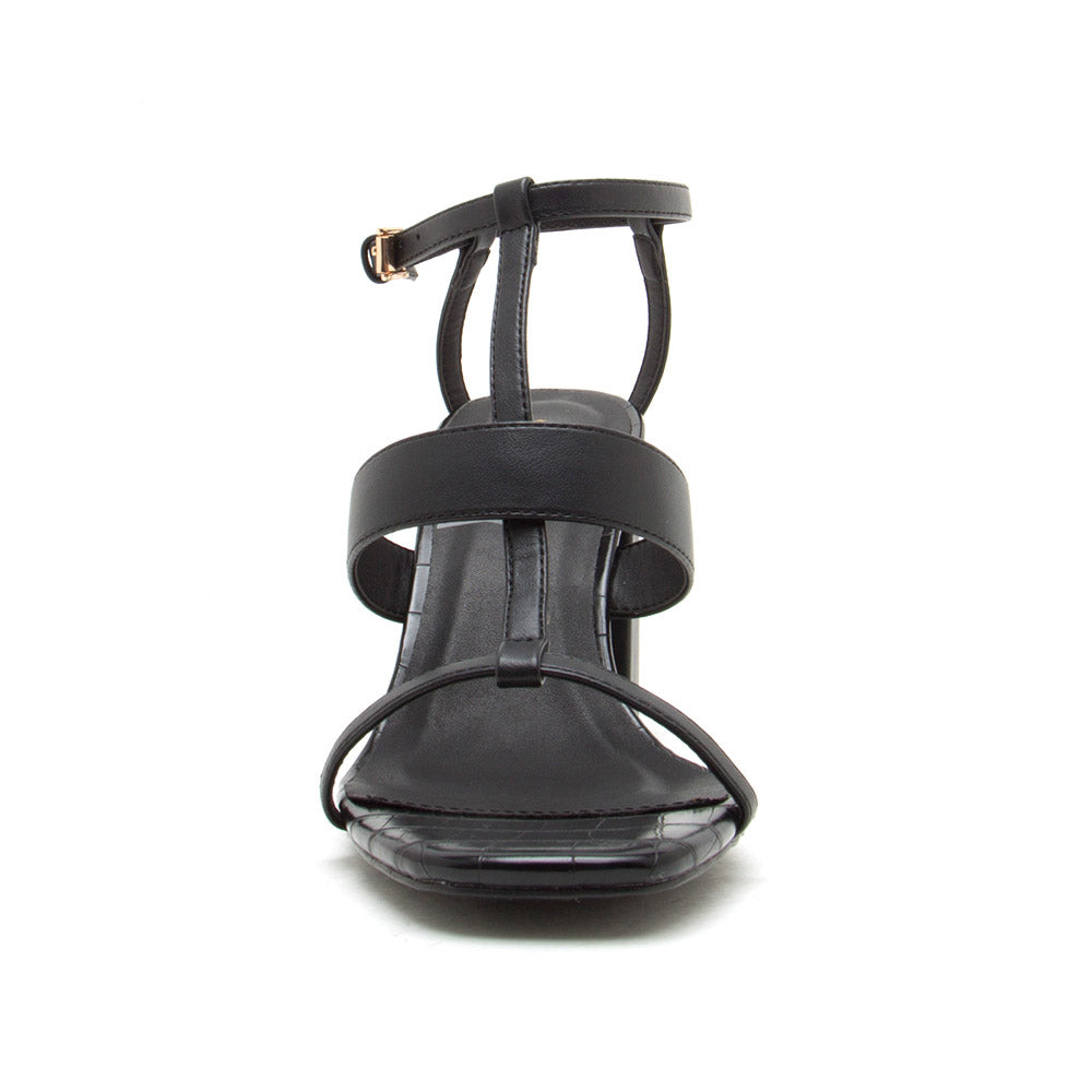 Cannoli-12 Black Strappy Sandals