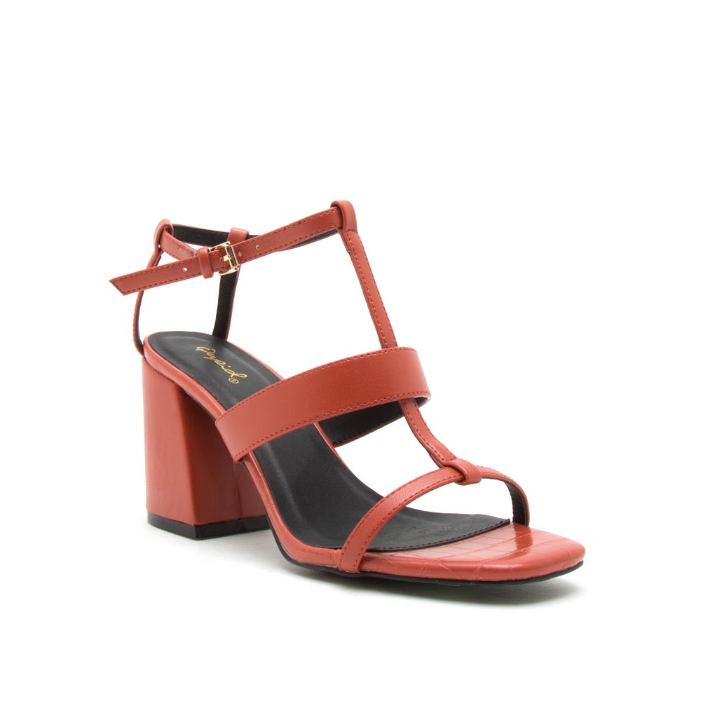 Cannoli-12 Brick Strappy Sandals