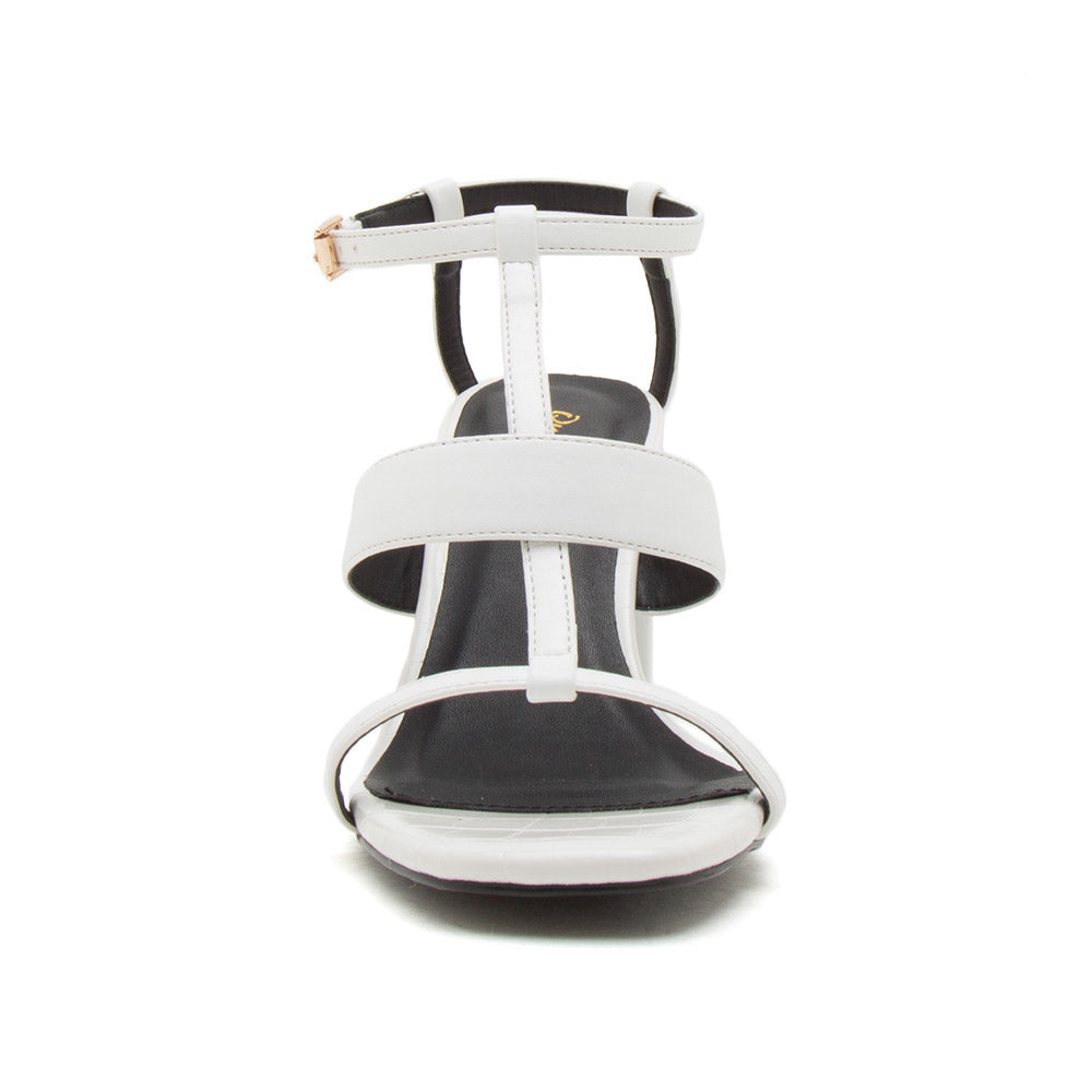Cannoli-12 White Strappy Sandals