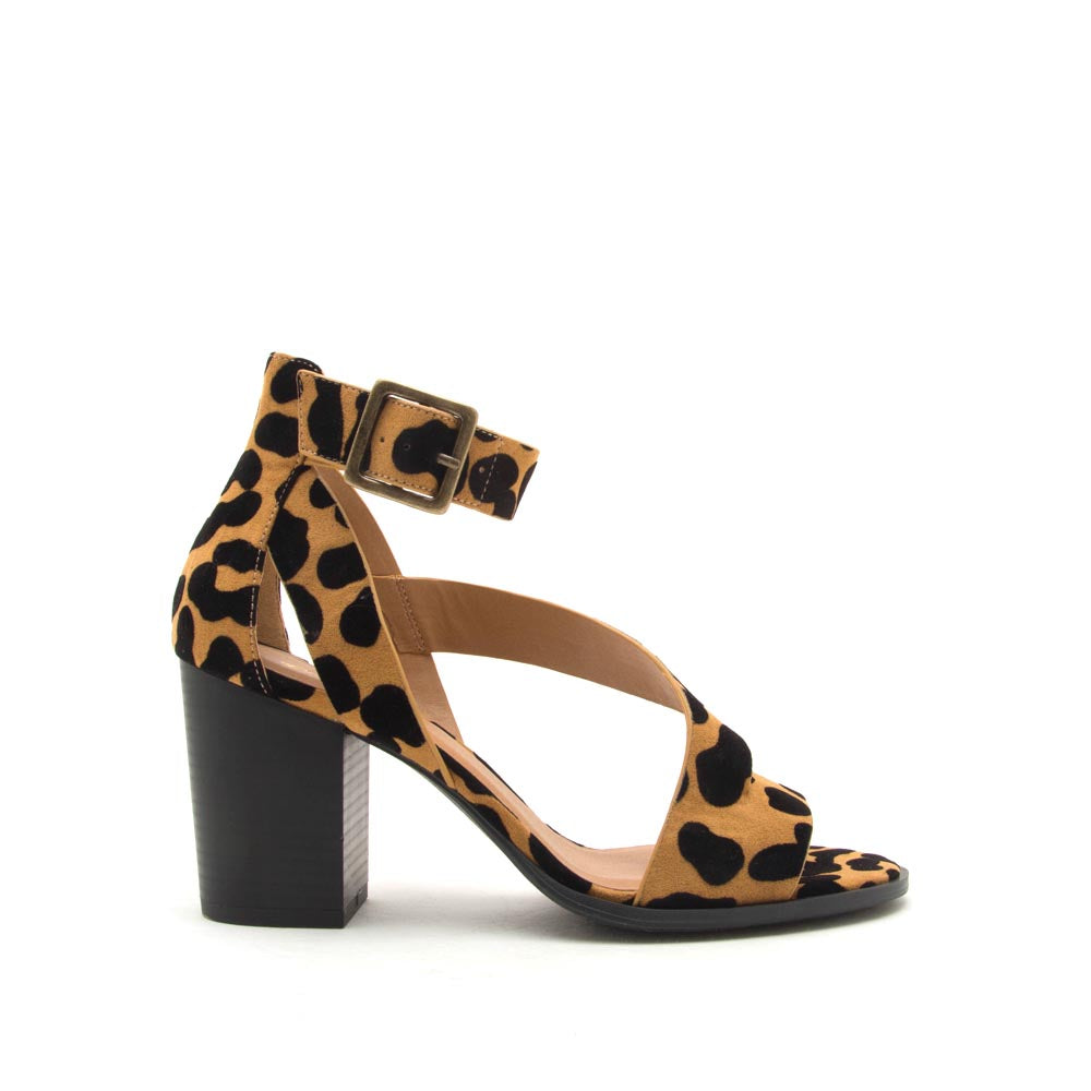Caris-15 Camel Black Leopard Strappy Sandals