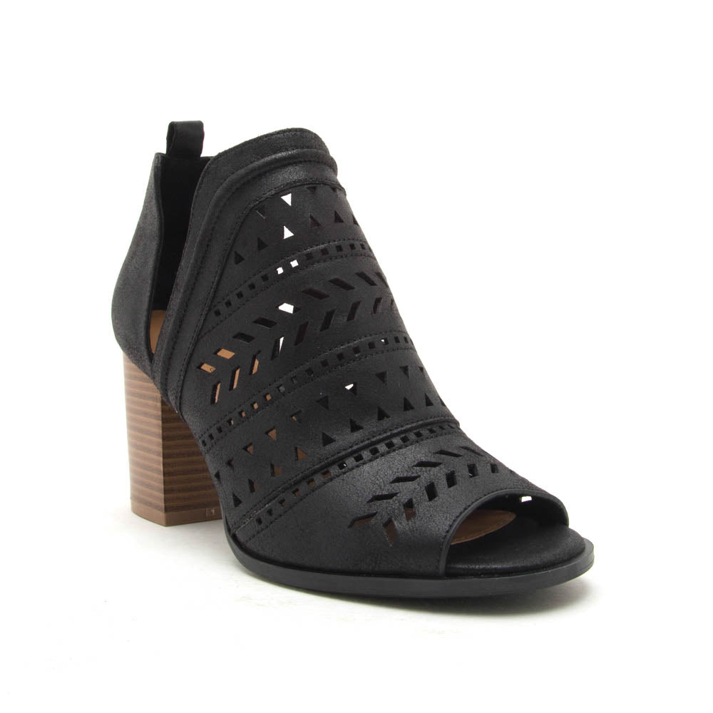 Caris-24 Black Perforated Peep Toe Booties