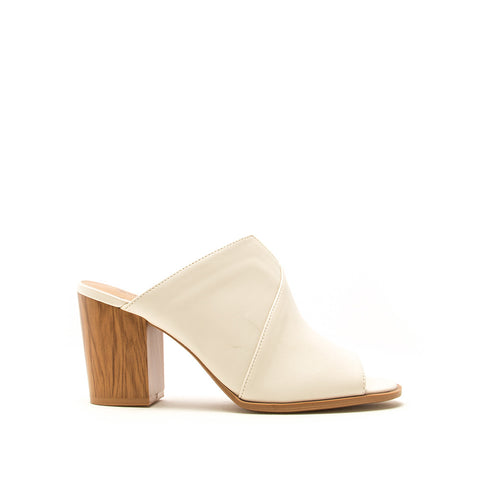 Caris-45A Off White Peep Toe Mule Heels