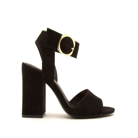 Carissa-04 Black Single Band Ankle Strap Heels