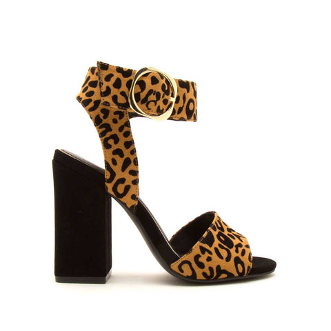 Carissa-04 Camel Black Leopard Single Band Ankle Strap Heels
