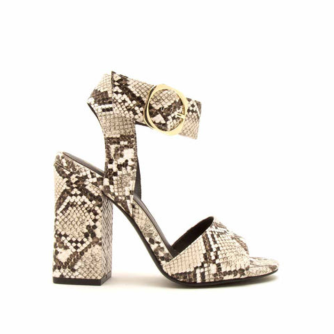 Carissa-04 Ivory Brown Snake Single Band Ankle Strap Heels