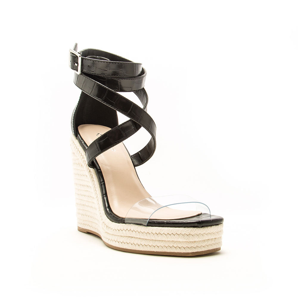 Cascade-07 Black Croco Ankle Wrap Wedge Sandals