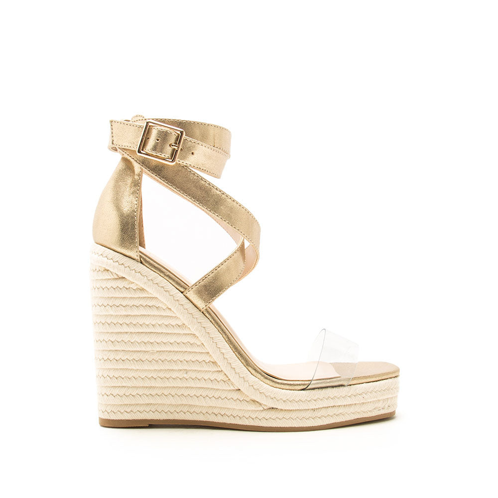 Cascade-07 Gold Metallic Ankle Wrap Wedge Sandals