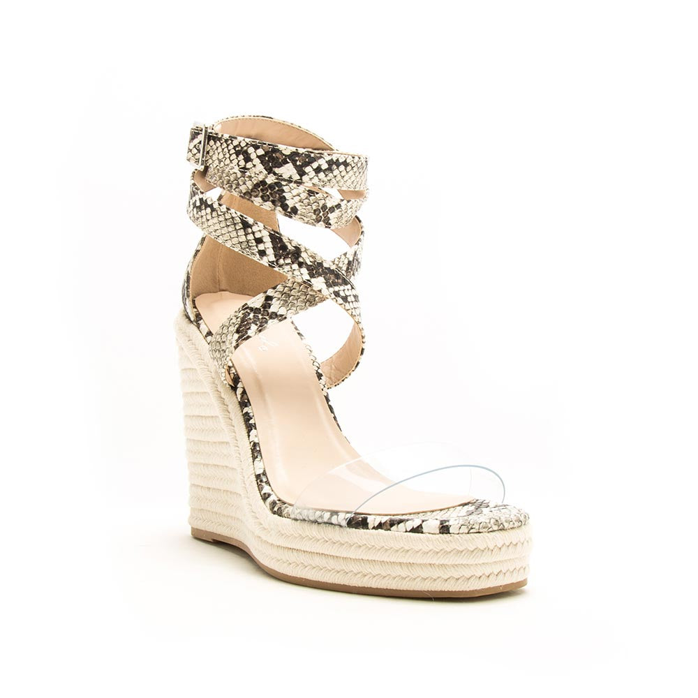 Cascade-07 Ivory Brown Snake Ankle Wrap Wedge Sandals