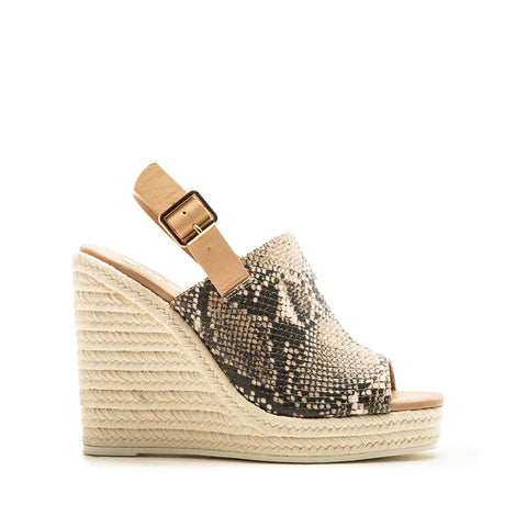Cascade-08X Beige Brown Snake Mule Slingback Wedge Sandals