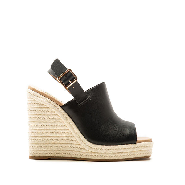 Cascade-08X Black Mule Slingback Wedge Sandals