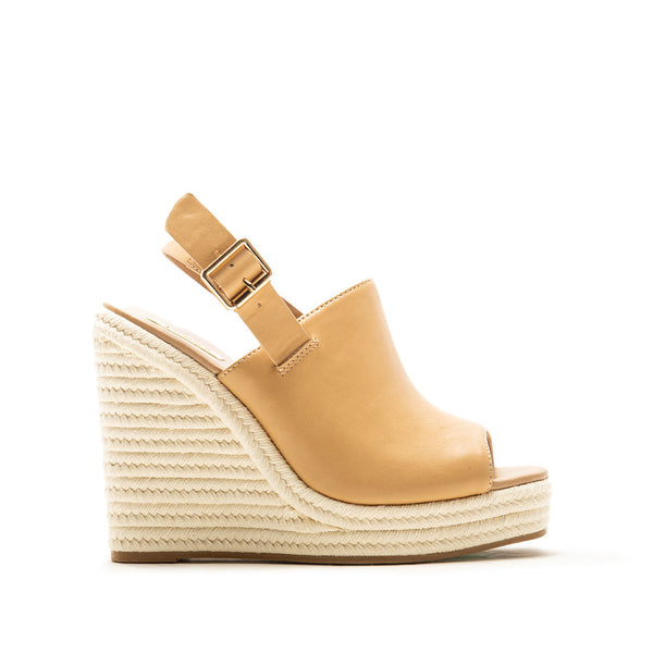 Cascade-08X Tan Mule Slingback Wedge Sandals
