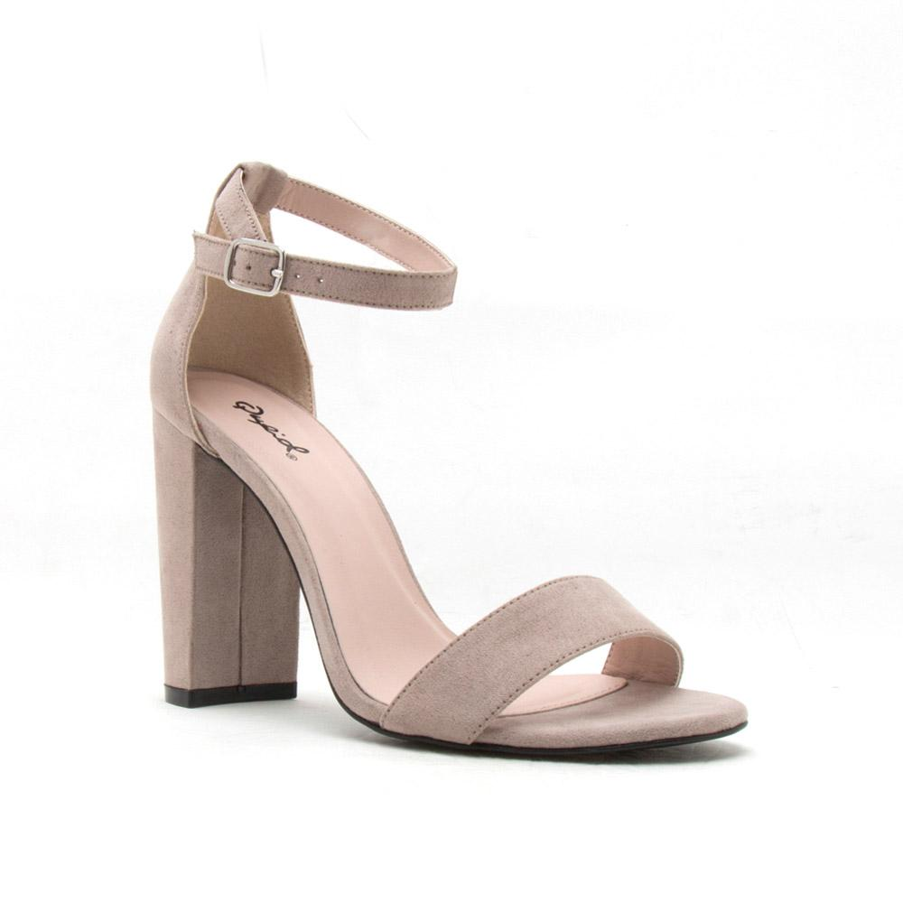 Heel Qupid Shoes Cashmere 01 Women Taupe Block Sandal WDH2E9I