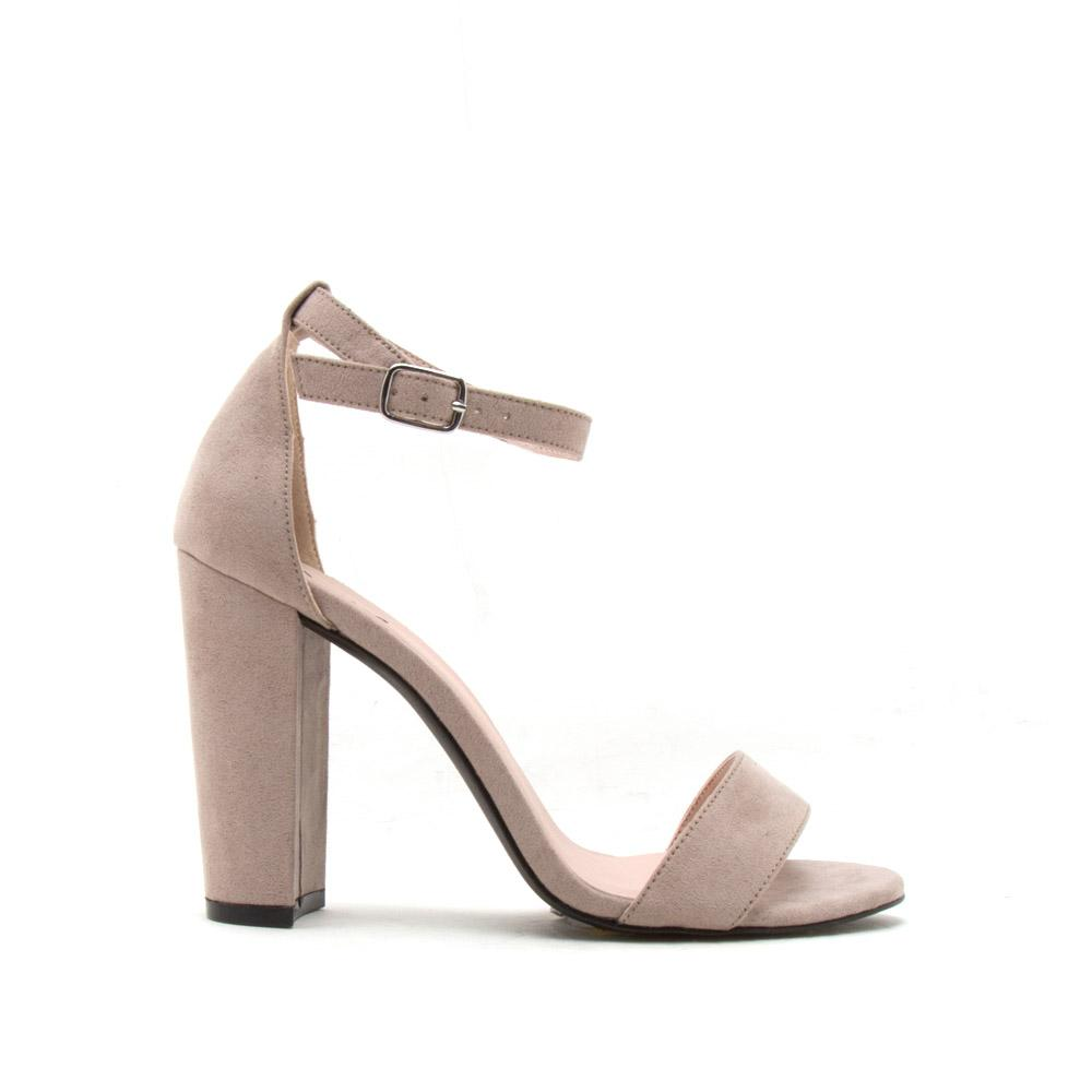 3a10f73a026 Qupid Women Shoes Cashmere-01 Taupe Block Heel Sandal