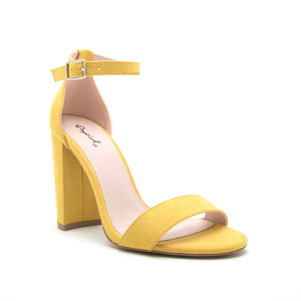 Cashmere-01 Yellow Block Heel Sandal