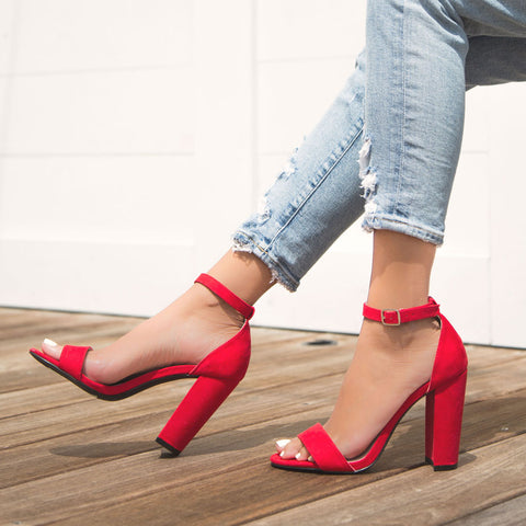 Cashmere-01 Red Block Heel Sandal