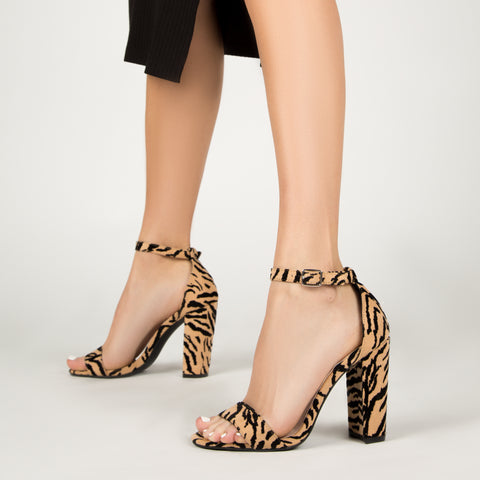 Cashmere-01 Tan Black Tiger Block Heel Sandal