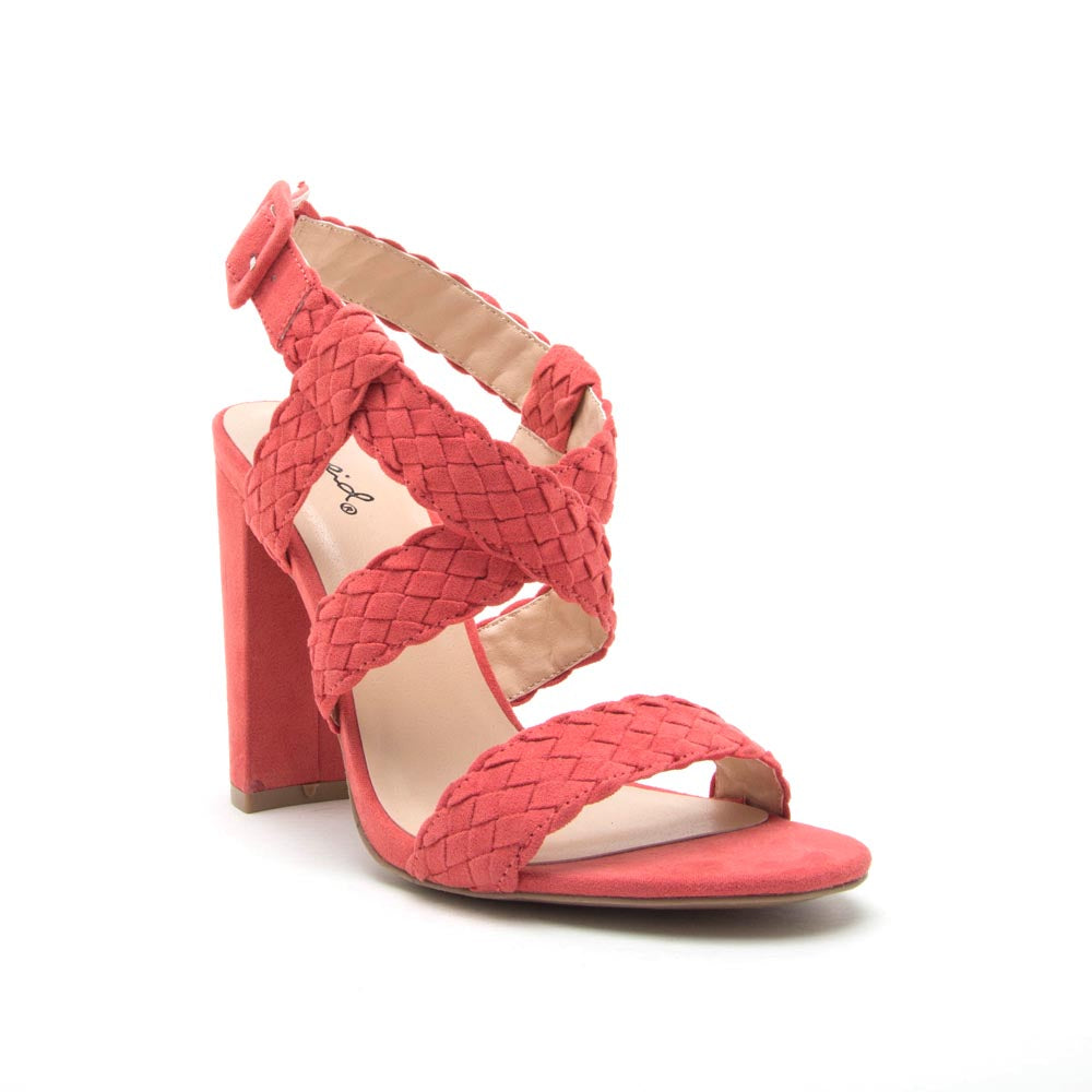 Cashmere-24 Coral Rose Braided Strappy Sandal