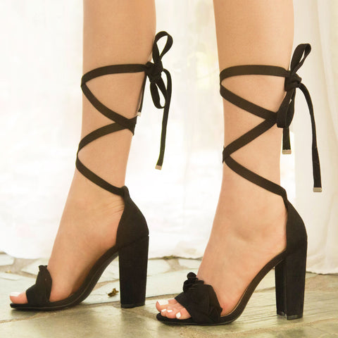 Cashmere-40X Black Lace Up One Band Sandal