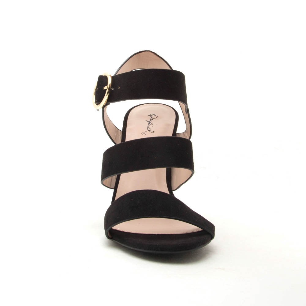 Cashmere-72 Black Triple Band Heels