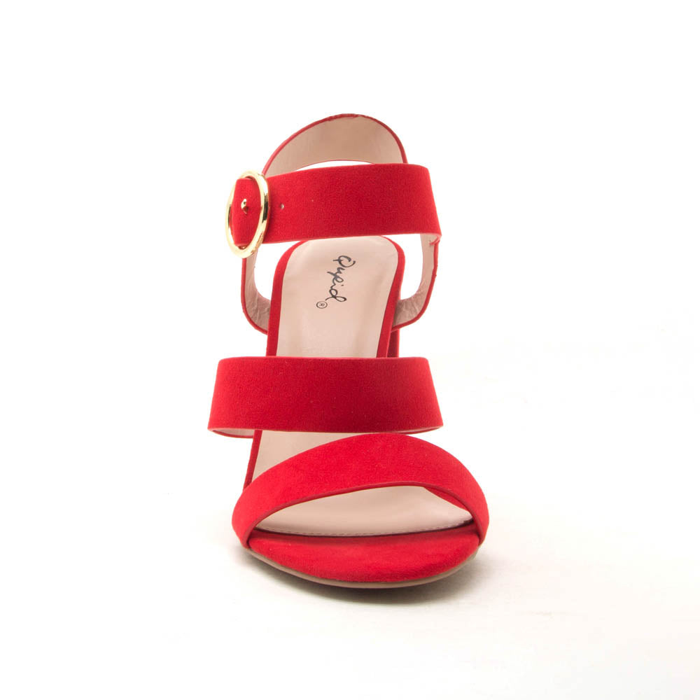 Cashmere-72 Red Triple Band Heels